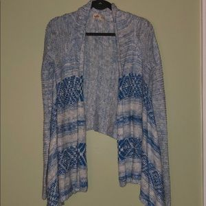 Blue and white cardigan